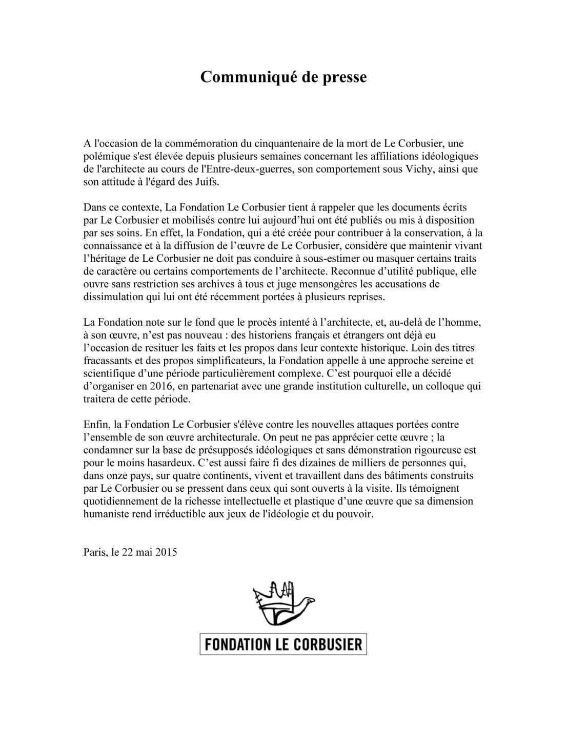 Fondation Le Corbusier_Communiqué de presse_Mai2015 copie